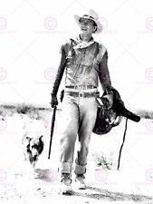 VINTAGE PHOTOGRAPH MOVIE FILM STAR DUKE JOHN WAYNE DOG POSTER PRINT LV11341