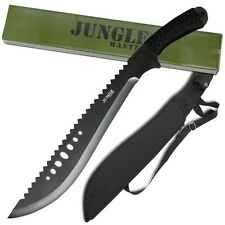 Full Tang Jungle Machete Serrated Nylon Sheath Fixed Blade Kukri Knife Sawback