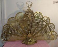 Vintage Brass Peacock Fan Fireplace Screen Ornate Foldable