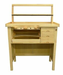 Deluxe Solid Wooden Jeweler's Workbench Set with Tool Storage Organizer Shelf