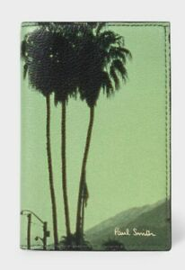NEW PAUL SMITH CREDIT CARD HOLDER WALLET, GREEN LEATHER BEACH DESIGN