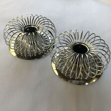 New ListingVintage Pair Mid Century Silvertone Spiral Candle Taper Holders