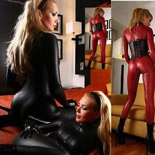 Women Wetlook Black Red Vinyl PVC Catsuit Bodysuit Jumpsuit Catwoman Costume