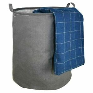 Laundry Storage Bag Basket - Grey Cotton with Handles 250L Collapsible PE Lined