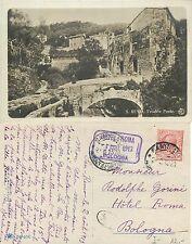 San Remo Vecchio Ponte Timbro Hotel Roma BOLOGNA anno 1913 (R-L 092)