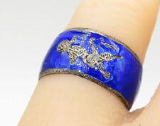 Dancer Band Ring Sz 6 - R8072 Siam 925 Silver - Vintage Antique Blue Niello