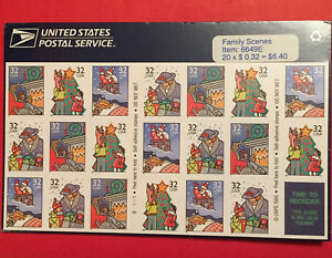 Sheet of 20 New Unused 1995 Christmas Family Scene 32 cent Stamps in shrink wrap