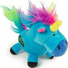 goDog Unicorns Durable Unicorn Plush Dog Toy Blue Large rainbow haired 1 pack