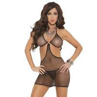 Plus Size Lingerie One Size Queen Diamond Net Halter Dress  EM1526Q