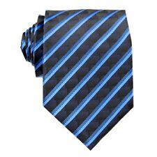 Man's Tie Necktie Navy Blue Striped 3.4'' 100% Silk Jacquard Classic Woven FS74