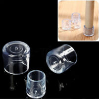 4PC Chair Leg Caps Rubber Feet Protector Pads Furniture Table Cover Bottom Clear