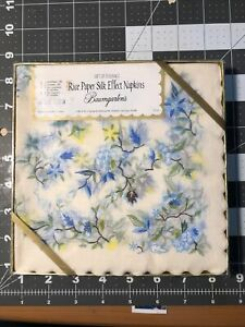Napkins Decoupage Paper crafts Rice Paper Silk Effects Luncheon Blue Flowers