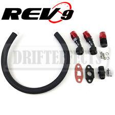 """REV9 black 17"""" t3 t4 t3t4 t04b gt45t67 t66 t70 turbo braided oil drain line kit"""
