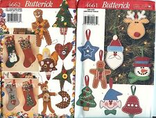 Butterick 4661 4662 Christmas Holiday Patterns LOT OF 2 ornaments stocking UNCUT