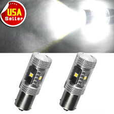 2x Pure White 1156 1141 High Power 30W LED Tail Brake Turn Signal Light Bulbs