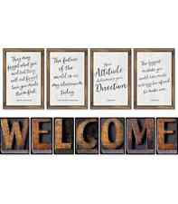 CD 110401 Industrial Chic Welcome and Inspirational Bulletin Board Set