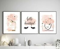 Set of 3 Watercolor Perfume Lashes Fashion Wall Art Print. A3 A2 A1 Sizes.