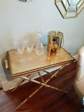 Vintage Metal Bar/Tea Cart Faux Bamboo Brass, Glass Wood Tray Server Fold Style
