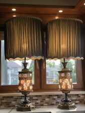 Fantastic Mid Century Hollywood Regency Lamps with Iridescent Glass