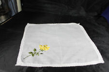 Vintage 1950s White Hanky Embroidered Yellow Rose Lace edge