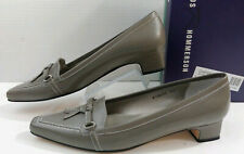 Ros Hommerson Taupe Gray Leather Dress Pump Loafer Shoes Women's 10S Narrow 3A