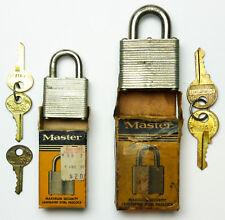 2 Vintage Master Secret Service Padlocks, Orig Boxes,No. 3 & 7, 3 Lion Logo Keys