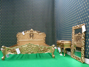 UK Super King size 6' GOLD French Style Mahogany Oriental Rococo bed