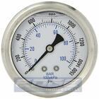 LIQUID FILLED PRESSURE GAUGE 0-1500 PSI, 2.5' FACE, 1/4' BACK MOUNT WOG