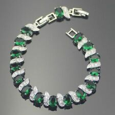 Green Emerald White Topaz Tennis Bracelet Dipped Sterling Silver 7-8 adjustable