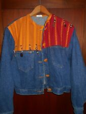 VTG Womens Size M Pacific Island Denim Jacket Hippie Boho Designer made in USA