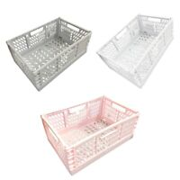2 X Folding Collapsible Plastic Storage Crates Boxes Cosmetic Stackable Basket