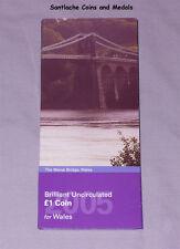 2005 ROYAL MINT SPECIMEN £1 COIN IN FOLDER - Menai Straits Bridge Design