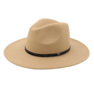 "Premium 3.25"" Wide Brim Snakeskin Trim Band Solid Color Felt Fedora Panama Hat"