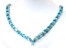 39,30 ct Topazio Blu E Diamanti Collana in 14K Oro Bianco