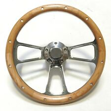 "Gorgeous Billet and Alderwood Steering Wheel 14""  CHEVY FORD DODGE VW PLYMOUTH"