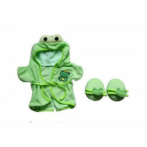 "Teddy Bear FROG Bathrobe & Slippers CLOTHES Fit 14""-18"" Build-a-bear !!NEW!!"