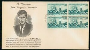 Mayfairstamps US FDC 1964 COVER NY WORLDS FAIR JFK BLOCK wwi84713