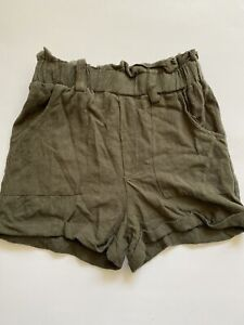 AEROPOSTALE ARMY GREEN PAPERBAG Shorts SMALL High Waist Bottoms Summer