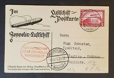 1931 Germany Teplitz Schönau Frankfurt Flight LZ 127 Graf Zeppelin RPPC Cover