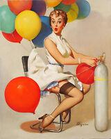 "Vintage GIL ELVGREN Pinup Girl CANVAS PRINT Poster Helium Gas~ 16"" X 12"""