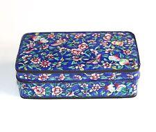 Cantone cinese vintage blu smalto su rame con coperchio scatola Motivo Floreale Farfalle