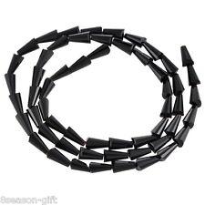 50PCs Black Glass Crystal Drop Shape Beads Crafts Accessories 7-8mm
