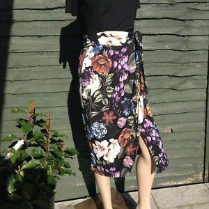 John Zack Floral  print wrap over aysmmetric Skirt  Sarong