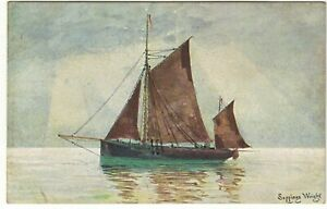 Artist Drawn Vintage Postcards by Seppings Wright of a Sailing Ship Boat