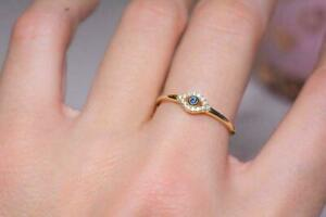 0.50Ct Round Cut Blue Sapphire Evil Eye Engagement Ring In 14k Yellow Gold Over