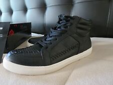 NEW IN BOX FERGALIOUS BY FERGIE BLACK LEATHER HI-TOP HARDY STYLE - SIZE 8M