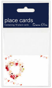 Pack Of 10 White Place Cards - Floral Heart, Doves & Bunting - Any Occasion