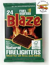 Pack Of 24 Fuel Express Blaze Natural Firelighters Cubes Easy BBQ Fire Starter