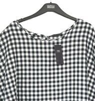 Ladies Top Blouse / M&S Blue Gingham Check Tie Back Modal 24 BNWT / Marks Women