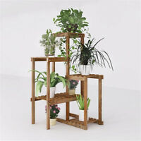 Corner Garden Plant Stand Wood Multi-Tiered Flower Display Rack Shelf for Patio